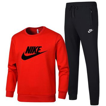 NIKE 2018 autumn and winter new men's plus hooded round neck cardigan sports running two-piece red