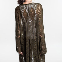 Umgee Cozy Me Up Crochet Open Knit Long Cardigan Sweater--Olive