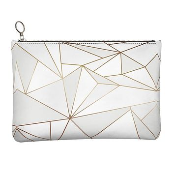 Abstract White Polygon with Gold Line Leather Clutch Bag by The Photo Access