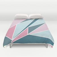 Pink and Navy  Duvet Cover by Ashley Hillman