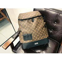 LV high-end men and women classic old flower retro backpack