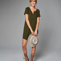 Henley T-Shirt Dress