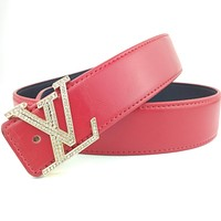 Louis Vuitton Smooth Belt Fashion Casual Business Letter Diamond Buckle Belt