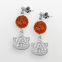 Auburn Tigers Sterling Silver Crystal Linear Drop Earrings (Orange)