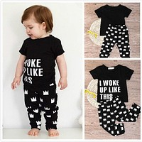 New Arrival 2pcs Newborn Toddler Kids Sets Baby Boys Girls Letter T-shirt Tops+ Crown Pants Outfits Clothes Set For Child