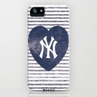 NY Yankees iPhone & iPod Case by Pink Berry Pattern