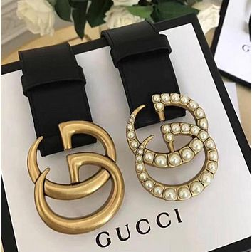 GUCCI Hot Sale Woman Men Chic Shiny Diamond Pearl Smooth Buckle Belt Leather Belt