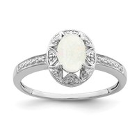 Sterling Silver Genuine Diamond & Created White Opal Ring