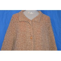 70s Brown Hand Knit Lined Cardigan Sweater Jacket Women's Extra-Large