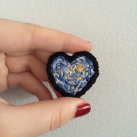 Heart Shaped Van Gogh Moon Phase Starry Night Patch