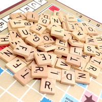 Vintage Scrabble tiles - 48 Random Letters - Wood Game Pieces for Scrapbooking Supply Crafting Embellishment