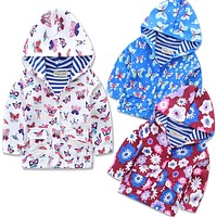 girl Outerwear Coats blazer cotton floral baby jackets cotton Trench Spring Girls Hood Jackets Baby raincoat