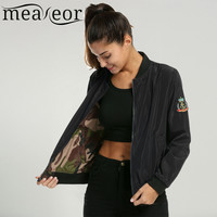 Meaneor 2016 Army Green Bomber Jacket Autumn Reversible Style Camouflage Biker Basic Outwear Casual Pilots Jacket Coat Plus Size