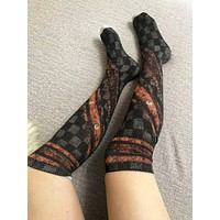 LV Louis Vuitton Autumn And Winter New Fashion Check Letter Print Women Thick Keep Warm Stockings Long Socks