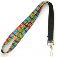 "Ninja Turtles Cartoon Squares Elastic 19"" Lanyard Licensed"
