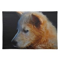 Baby fractal wolf cub cloth placemat