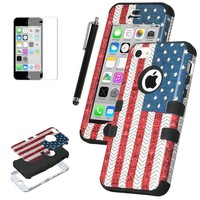 iPhone 5C Case, ULAK 3in1 Hybrid High Impact Soft Silicone and Hard PC Case for Apple iPhone 5C Fashion USA American Flag Pattern With Screen Protector and Stylus (Stars and Stripes /Black)