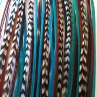 """5 Feathers 4""""-6"""" Turquoise, Genuine Grizzly & Browns Extension for Hair Extension"""