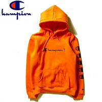 Champion autumn and winter new men and women with hood hooded sweater Orange