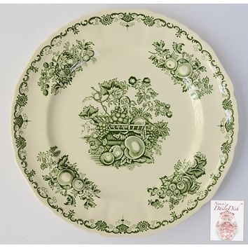 Vintage Green English Transferware Plate Basket of Fruit Mason's