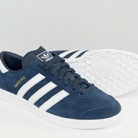 adidas Originals Hamburg Trainers In Navy S74838 at asos.com