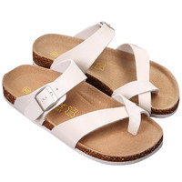 White Open Toe Flat Sandals