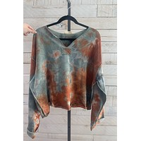 Cozy Day Top- Rust/ Blue