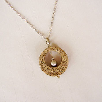 Sterling Silver and Radal Wood Pendant - Round Circle Pendant with moving balls - Beige and silver Simple Necklace - Native Patagonia Wood