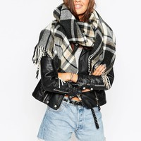 ASOS Oversized Scarf In Black & Camel Check With Tassels