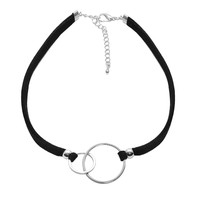 Two Circle Double Line Velvet Choker Necklace