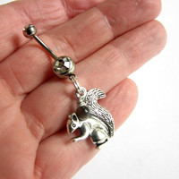 Silver Squirrel Belly Button Ring with Tiger Eye Acorn Bellybutton Ring