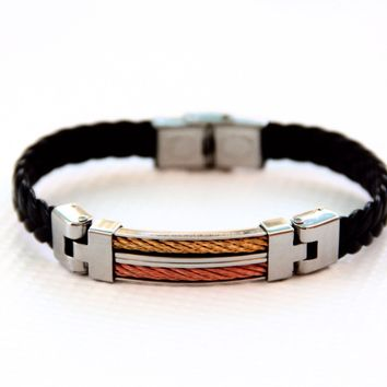 Black Braided Leather Bracelet with Stainless Steel - Copper Tone and Bronze Tone Accents