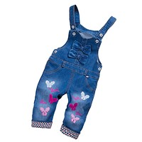 Spring Autumn Toddler Baby Girls Strap Bib Denim Trousers Children Cotton Butterfly Pattern Jeans Kids Overall Pants