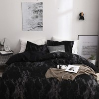 Black Marble Print Sheet Set