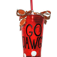 Georgia Bulldogs 16 oz Acrylic Insulated Double Walled Tumbler Cup With Lid and Matching Straw, Custom Design With Polka Dots