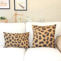 """MagicPieces Cotton and Flax Sexy Leopard Print Decorative Pillow Cover Case 18"""" x 18"""" Square Shape-animal print-yellow-wild"""