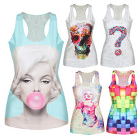Women's Summer Style T Shirt Punk Club Sleeveless Costume 3D T-Shirts Women Fashion Leisure Vest