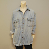 Vintage 1990's Denim Button Down Chambray Shirt From Express Light Wash Blouse Relaxed Fit Top Size Medium Boyfriend Long Sleeve Jean Shirt