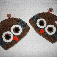 "Brown and Blue boy or girl Owl Hat NB, 0-3, 3-6 6-12 Months Baby Shower Gift, Infant, Perfect Photo Prop ""Owl always love you"""