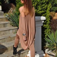 Plus Size Clothing / Oversize Loose Top / Maternity Gown / Asymmetric Maxi Tunic / Long Dolman Sleeves Blouse / Off the Shoulder Top