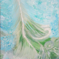 Original Abstract Ocean Art Oil painting on Canvas Seascape Abundance Ready to hang 40x50 cm teal blue and green