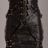 Born Free Studded Black Vegan Leather Skirt
