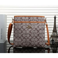 COACH Men Fashion Casual Print Shoulder Bag Diagonal Male Package Apricot +Brown G-MYJSY-BB