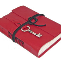 Red Leather Journal with Key Bookmark - Ready to Ship -