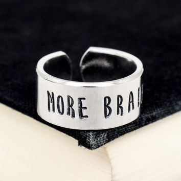 More Brains Ring - Zombies - Adjustable Aluminum Cuff Ring