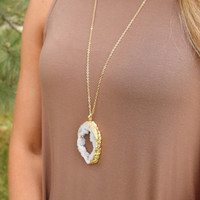 Crested Butte Agate Necklace White