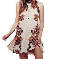 2016 Women Summer Floral Print Mini Dress Sleeveless Sexy Backless Ribbons Bow Vintage Fit Casual
