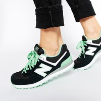 New Balance 574 Black Suede Trainers