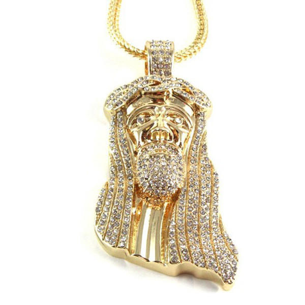 Image of Jesus Iced Out Pendant and Neckalce
