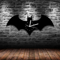 Free Shipping 1Piece Solid Handmade Batman Logo Acrylic Wall Clock for Home Decoration Unique Gift for DC Comic Fan